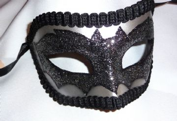 Genuine Venetian Silver & Black Bat Mask Halloween